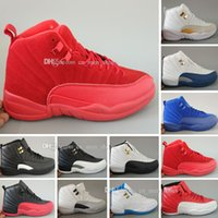 Wholesale Chinese Cheap Shoes - Mens Cheap New Retro 12 Red Flu Game Chinese New Year Taxi Gamma Blue Basketball Shoes Sneakers for Men Outdoor Sports Shoes Size US 5.5-13