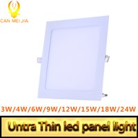 Wholesale Panel Led 2835 - Utra Thin Led Panel Light Recessed LED Downlight SMD 2835 3W 6W 9W 12W 15W 18W 24W 220V Led Ceiling Lamp Light Square