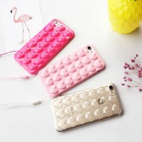 Wholesale Iphone Pouch Korean - Case For iPhone 7 Korean peach heart Jelly phone case Candy soft silicone TPU Love case For iphone 7 7plus 6 6s 6plus shell back cover