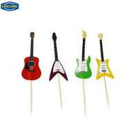 kek kekleri toptan satış-Toptan-[CHICCHIC] 24 adet bir Set Renkli Gitar 4 Şekiller Cupcake Toppers Kek Alır Kürdan ile Ücretsiz Kargo QH0021