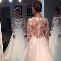 Wholesale See Through Bodice Wedding Dresses - Illusion Long Sleeve Lace Wedding Dress Romantic Style Bateau See Through Bodice A Line Bridal Dresses Factory Custom Made Gown High Quality