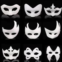 Wholesale Pvc Blanks Wholesale - Blank White Masquerade mask Kids Adults Mardi Gras Christmas Halloween midnight costume DIY Half Full Face Masks Animal cartoon Mask