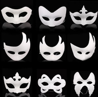 Blank White Masquerade Maske Kinder Erwachsene Mardi Gras Weihnachten Halloween Mitternacht Kostüm DIY Halbe Full Face Masken Tier Cartoon Maske