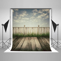 Wholesale Digital Background Floors - Wood Floor Photography Backdrops for Photographers Sky Wood Fence Photo Background Cotton Seamless Digital Printed Backgrounds YY00713