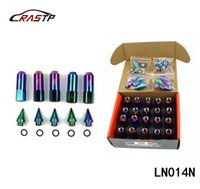 Wholesale packing nuts - RASTP-20 Pcs Pack Neo Chrome Rainbow Racing Wheel Lug Nuts 60mm With Spikes M12x1.5 1.25 RS-LN014N