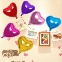 Wholesale Inflatable Balloon Heart Shape - DHL Christmas decorations 10 inch Inflatable Aluminum Balloon Birthday Party gift Heart Shaped Aluminum Foil Balloon