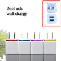 Wholesale Dual Usb Cell Phone Charger - Wholesale cell phone 2usb travelling wall chargers EU US metal dual port AC wall charger USB power adapter DHL free shipping