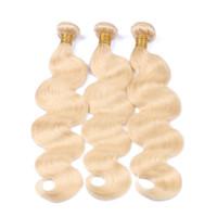 Wholesale Hair Extension 613 - #613 Blonde Human Hair 3 Bundles Body Wave Peruvian Virgin Hair Extensions 9A Indian Malaysian Cambodian Brazilian Hair Weave Bundles 3 Pcs
