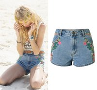Wholesale Womens Denim Floral Shorts - 2017 High Waisted Jean shorts For Women Summer Blue Skinny Cute Hot Denim Shorts Womens Cotton Shorts With Pockets Embroidery