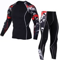 Wholesale Wolf Leggings - Cool 2017 Sportswear Sets Men Compression Sets T Shirts Wolf Print Lycra Crossfit Joggers Base Layer Tight Tops Leggings Brand Clothing