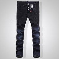 Wholesale Plus Size Leopard Tights - Wholesale-Kmo new men's jeans fear of god classic men skin-tight jeans men's high quality iron anchor hole Jeans male 1838-28-36size