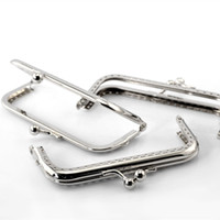 Wholesale Handbags Clasp Clips - 50Pcs Wholesale Silver Tone Coin Purse Bag Rectangle Frame Kiss Clasps Clutch Clips Handbag Handle 10.5x6cm