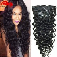 Wholesale European Clip Curly Hair - African American Hannah Clip in Human Hair extension Full Head Brazilian Hair Afro Deep Curly Clip In Extension Black Brazilian Hair