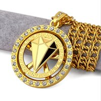 Wholesale Diamond Letter Initials - Hip-hop jewelry high-quality gold plated 18K gold tide rotating diamond pendant necklace