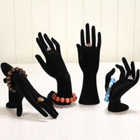 Wholesale Mannequin Hand Display - High quality Black White Hand-shaped Black cashmere Ring Display Stand Show Holder Jewelry Bracelet Hand Display Holder Stand Show 1pcs lot