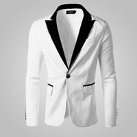 Wholesale Korean Tuxedo Jackets - Wholesale- Slim White Blazer Men Business Tuxedo Jacket Korean Spell Color Blazers Man White Jackets Coats Costume Veste Homme