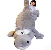 Wholesale Huge Stuffed Animal Pillows - 200cm Huge Cute Simulated Animal Crocodile Stuffed Pillow Cushion Big Cartoon Alligator Plush Toy Kids Doll 79''