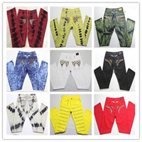 Wholesale Rock 34 - 2017 Men Robin jeans Rock Revival Jeans Crystal Studs Denim Pants Designer Trousers Men's size 30-42 New Free Shipping
