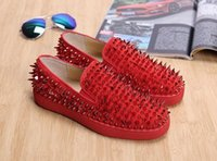 Wholesale Triangle Rivets Fashion - New Women casual shoes Triangle rivets black and red bottom shoes Genuine Leather With Spikes Toe Casual Shoes Unisex fashion men sneakers
