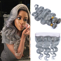 Wholesale Hair Extensions Heat Resistant - Fashion Color Silver Grey Body Wave Human Virgin Hair Lace Frontal With Bundles Gray Heat Resistant Hair Extension With Closure Grey Hair