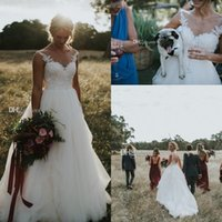 Wholesale simple style wedding dresses resale online - 2017 New Cheap Country Style Wedding Dresses Scoop Neck Illusion Vintage Lace Appliques A line Plus Size Open Back Bridal Gowns Sweep Train