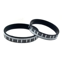 Wholesale Wholesale Music Keyboards - Wholesale 100PCS Lot Printed Piano Keyboard Silicone Wristband Great To Used In Any Benefits Gift For Music Fans