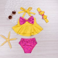 Wholesale Cute Bikinis For Kids - Mikrdoo 3PCS Kids Baby Girl Clothes Sets Cute Polka Dot Bikini Yellow Bowknot Tops Swimwear Kids Bow Bathing Suit Beachwear For Age 0-4 Year