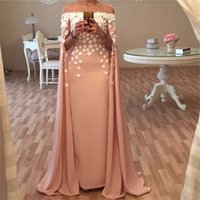Wholesale long satin dressing robe - Dubai Kaftan Robes Bateau Neckline Long Champagne Evening Dresses With Cape 3d Flowers Appliques Saudi Arabia Prom Gown