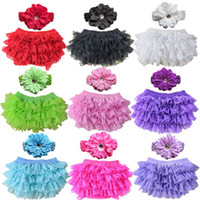 Wholesale Cute Girls Diapers - Cute New Baby Girl Bloomers Diaper Cover Headband Set Newborn Ruffle Panties Lace Infant Shorts