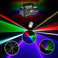 Wholesale Mini Laser Dmx - Mini LED RGB Laser Stage Lighting Effect DMX Laser Projector With Remote Lumiere Disco Lights Dj Party Stage Light Red Green Blue DM-RGB400