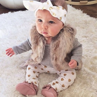 Wholesale Gray Infant Headbands - 3pcs Kid Children Baby Girls Clothes Long Sleeve Infant Tops Pants Love Pattern Headband Baby Girl Outfit kIds Set Clothing