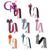 Wholesale Cute Bow Grosgrain - 8 Pcs lot 8 Styles Kids Hair Bow Grosgrain Ribbon With Cute Patterns Hair Bows Holders Hair Clip Holder Storage Organizer