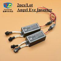 Wholesale Universal Ccfl - 2pcs Lot,12V CCFL inverter Angel Eyes Halo Rings Driver Blocks Power 2 Output Car Light Source Universal Male Plug