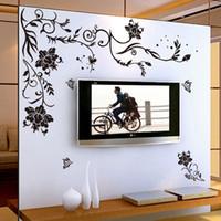 stickers fleurs noires grand achat en gros de-Black Flower Vine stickers muraux décor à la maison grand papier fleurs salon chambre décoration murale autocollant papier peint