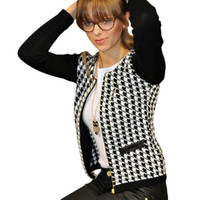 Wholesale Houndstooth Coat Xl - New Women Autumn Spring Long Sleeve Jacket Round Neck Short Coat Houndstooth Outwear