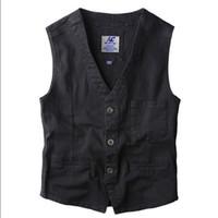 Wholesale Mens Vintage Denim Shorts - Wholesale- Blazer Vest Mens Denim Vests Single Breasted Sleeveless Jean Jacket New Gilet Men Vintage Slim Fit Dress Suit Vest A1647