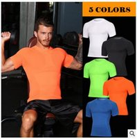 Wholesale Excercise Shirt - Brand 2017 Men Compression Skin Tights T-Shirts Jerseys Fitness Excercise Workout Tops Tees Base Layer Shirt Male Bodybuilding Gym Clothing