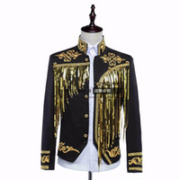 Wholesale Sequin Lapel - male jacket blazer prom groom coat outfit singer sequined gold silver host clothing nightclub stage activities star singer dancer coat