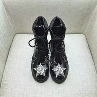 Wholesale black diamond ankle boots - 2017 Fashion Cat walk Counter quality genuine leather black With diamonds round toe Lace-up hight ankle boots