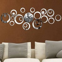 Vente en gros-Nouvelle Mode Europe Moderne Design Acrylique Hall Quartz Horloge Murale Creative Art Accueil Déco Grand Miroir Diy 3D reloj Hot