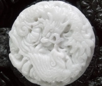 Wholesale jade dragon pendant jewelry - Wholesale Beautiful Genuine Handmade Natural White Jade Carved Dragon Phoenix Pendant Necklace Fashion Carving Pendants Jewelry