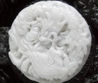 Wholesale dragon phoenix jade pendant - Wholesale Beautiful Genuine Handmade Natural White Jade Carved Dragon Phoenix Pendant Necklace Fashion Carving Pendants Jewelry
