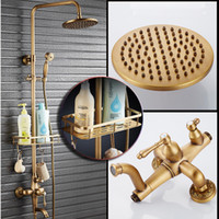 Wholesale Antique Brass Faucet Shower - Antique Brass Shower Mixer Valve Set One Handle with Storage Holde Shower Faucet Taps + Tub Spout