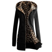 Wholesale stylish women winter coats - Wholesale- Autumn Winter Women Hoodies 2017 Stylish Leopard Fleece Hooded Sweatshirt Female Casual Slim Long Pockets Outwear Coat Plus Size