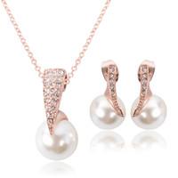 Wholesale Cz Pearl Wedding Bracelet - Hot New Fashion Pearl Crystal Rhinestone CZ Necklace Earrings Jewelry Sets Wedding party Accessories Bridal Jewelry Set HJ143