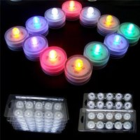 Wholesale Flameless Birthday Candles - Underwater Flickering Flicker Flameless LED Tealight Tea Waterproof Candles Light Colorful Battery Operated Wedding Birthday Fashion 3002036