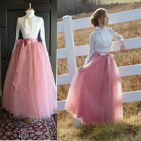 Wholesale Cotton Skirts Women Cheap - Cheap Floor Length A-Line Skirts For Women Custom Made Tulle Long Skirt Adult Women Tutu Skirts Lady Formal Party Skirts