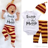 Wholesale Newborn Baby Leggings - 2017 3PCS Newborn Baby Boys Clothing Top Letter Romper+ Striped Pants Leggings + Hat Outfit Set Clothes 0-18Months