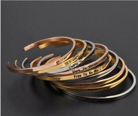Wholesale Custom Gold Bracelets - Factory Custom New 316l stainless steel Jewelry Inspirational Quotes Engraving Bangle Love Gift bracelet