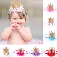 Wholesale Tiaras For Birthday Parties - 1 year Birthday Crown Headband Flower Lace Gold Tiara Headband for Girls Party Hair Band Accessories 7 Colors